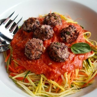 Veggie Spaghetti and Meatballs | Destination Delish - A meatless take on the classic pasta dish with veggie noodles, a homemade tomato sauce, and black bean meatballs
