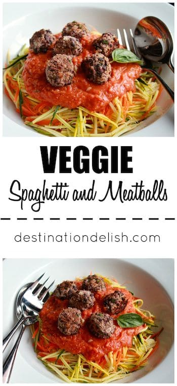 Veggie Spaghetti and Meatballs | Destination Delish - A meatless take on the classic pasta dish with veggie noodles, a homemade tomato sauce, and black bean meatballs. Gluten-free. Vegan.