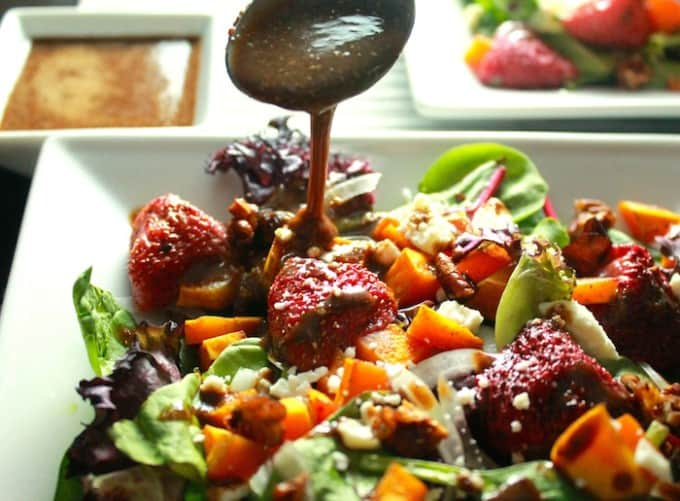 Roasted Butternut Squash and Strawberry Salad | Destination Delish - Roasted Butternut Squash and Strawberry Salad - roasted butternut squash and strawberries, feta, pecans, and balsamic vinaigrette