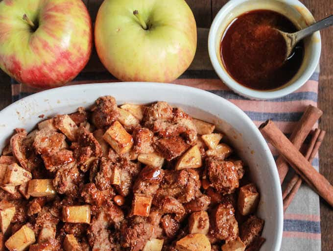 Caramel Apple Butterscotch Bread Pudding | Destination Delish