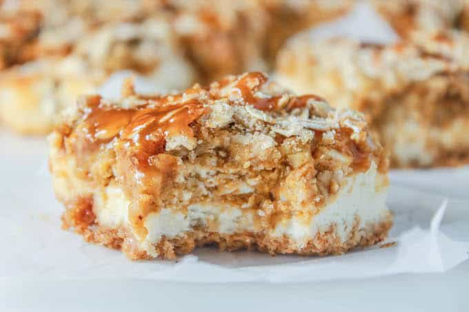 Pumpkin Pie Cheesecake Bars with Caramel Streusel | Destination Delish
