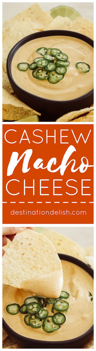 Cashew Nacho Cheese | Destination Delish - An unbelievably magical nacho cheese dip made with cashews! Vegan, gluten free, dairy free.