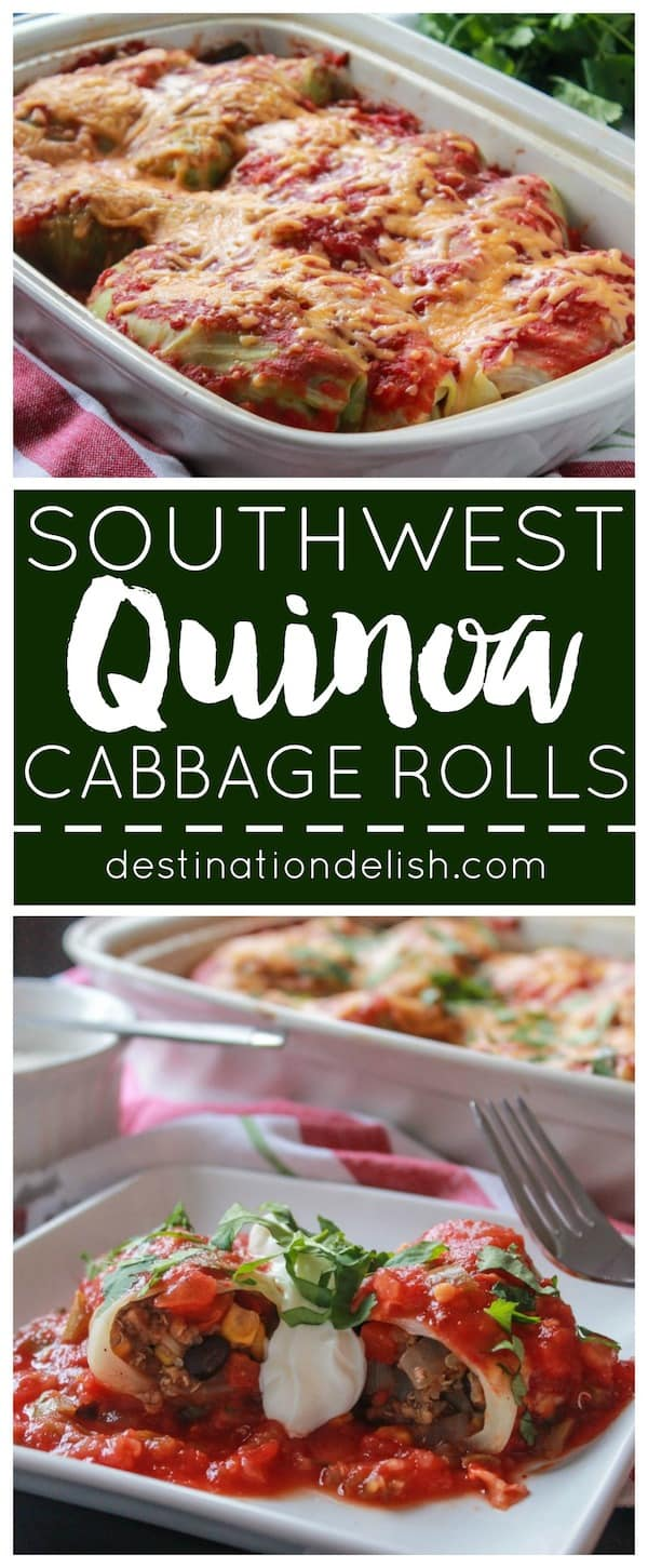 Southwest Quinoa Cabbage Rolls | Destination Delish - A bold twist on the traditional recipe. These rolls are made with ground turkey, quinoa, cumin, chili powder, and salsa