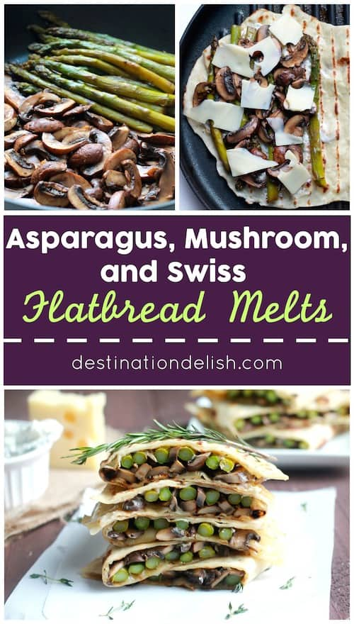 Asparagus, Mushroom, and Swiss Flatbread Melts | Destination Delish - Warm sandwiches bursting with sautéed veggies, melted swiss cheese, and dunked in a garlic-herb mayo