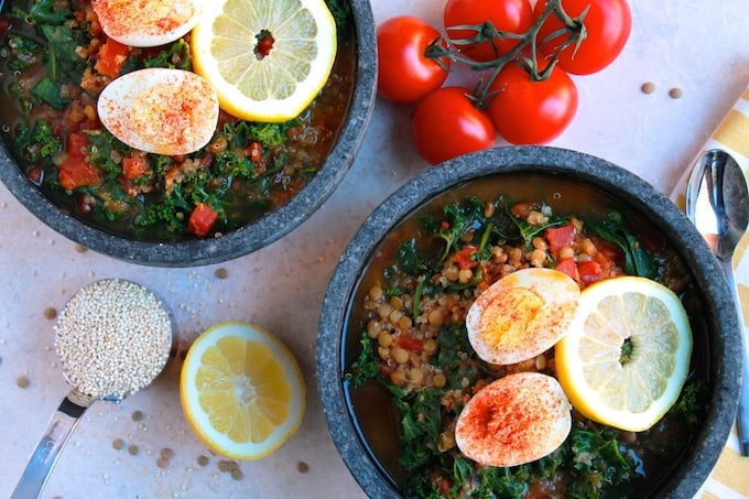 Lentil, Quinoa, and Kale Soup | Destination Delish - a fresh, healthy, and homemade version of Panera's hearty broth bowl soup