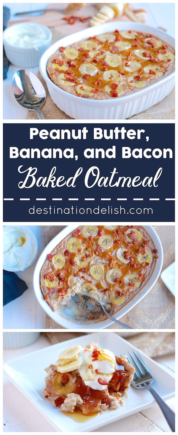 an Elvis inspired breakfast recipe. Sweet bananas, smooth peanut butter, and crispy bits of salty bacon combined into a hearty and creamy baked oatmeal