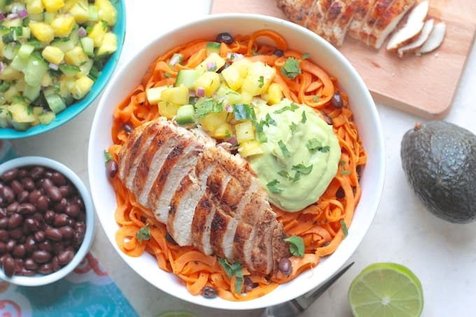 Southwest Grilled Chicken and Squash Noodle Bowls | Destination Delish