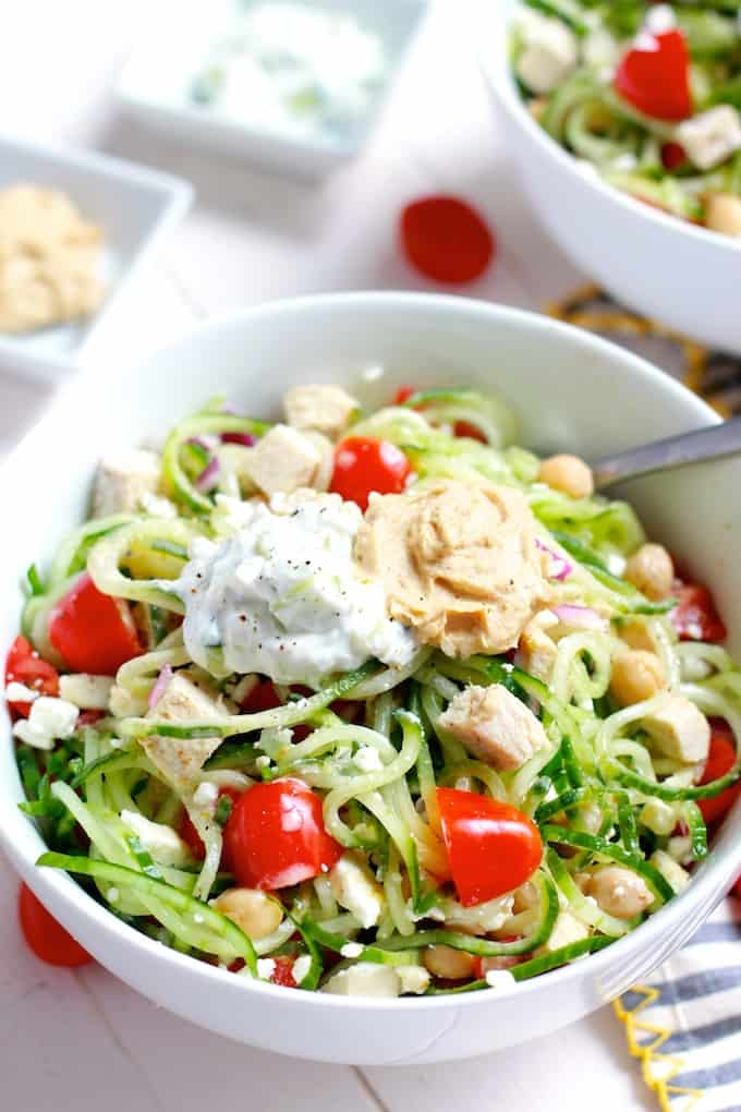 Greek Chicken and Cucumber Noodle Bowls