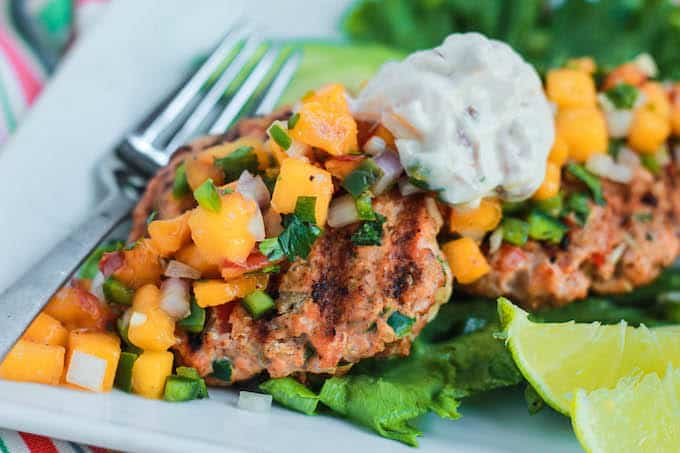 Southwest Salmon Burgers with Peach Salsa