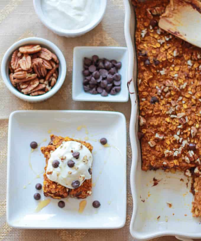 Pumpkin Chocolate Chip Baked Oatmeal | Destination Delish