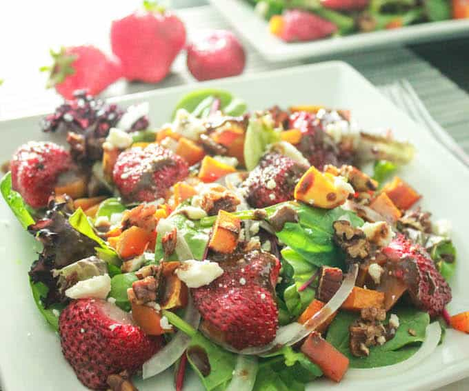 Roasted Butternut Squash and Strawberry Salad | Destination Delish