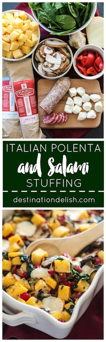 Italian Polenta and Salami Stuffing | Destination Delish #PairsWellWithHolidays #ad