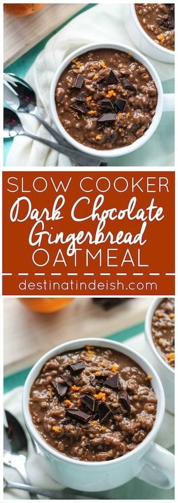 Slow Cooker Dark Chocolate Gingerbread Oatmeal | Destination Delish