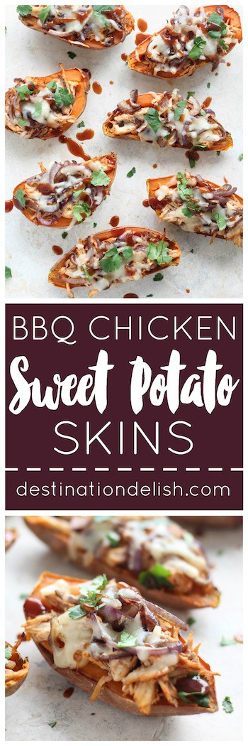 BBQ Chicken Sweet Potato Skins | Destination Delish – A healthy appetizer that packs all the amazing flavors of BBQ chicken pizza into sweet potato skins
