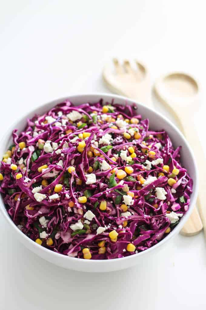 Corn and Jalapeño Slaw | Destination Delish - A crisp and refreshing slaw with a citrusy kick from the fresh squeeze of lime and orange juices