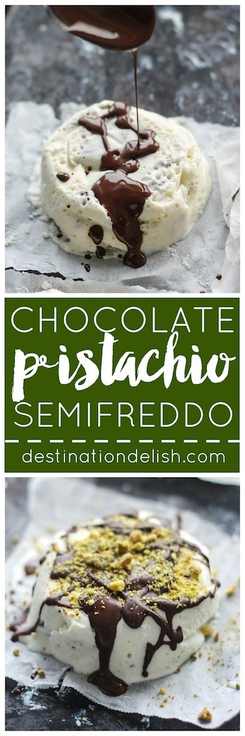 Chocolate Pistachio Semifreddo | Destination Delish – a lightened up version of the classic Italian dessert using ricotta and cream cheeses. Mixed with chopped pistachios and a drizzle of chocolate for a velvety smooth treat.