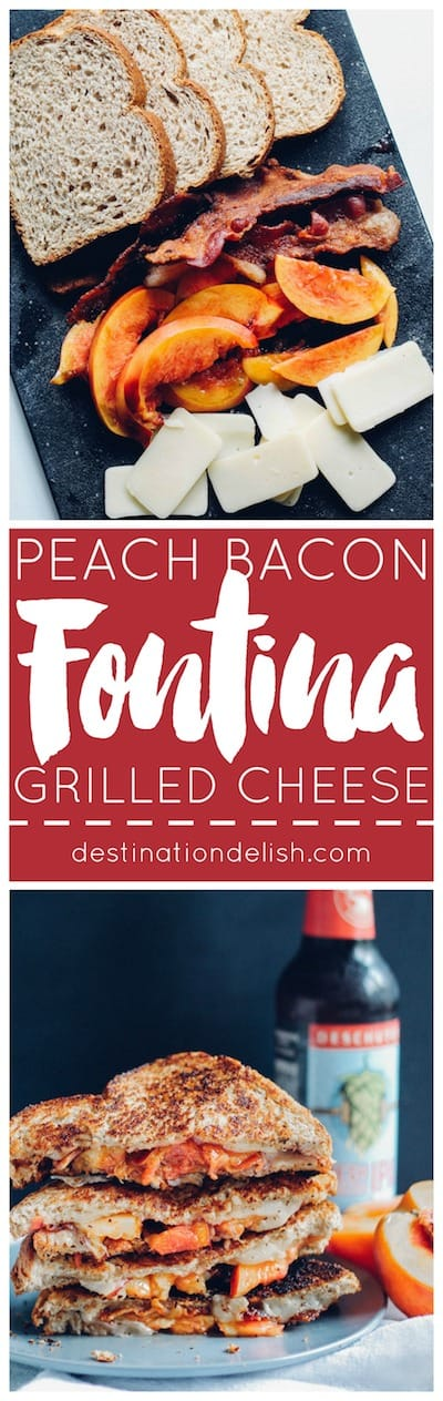 Peach, Bacon, and Fontina Grilled Cheese | Destination Delish – a sweet and savory sandwich filled with juicy summer peaches, salty bacon, and gooey cheese. Enjoy this grilled cheese as a quick and easy weeknight dinner!