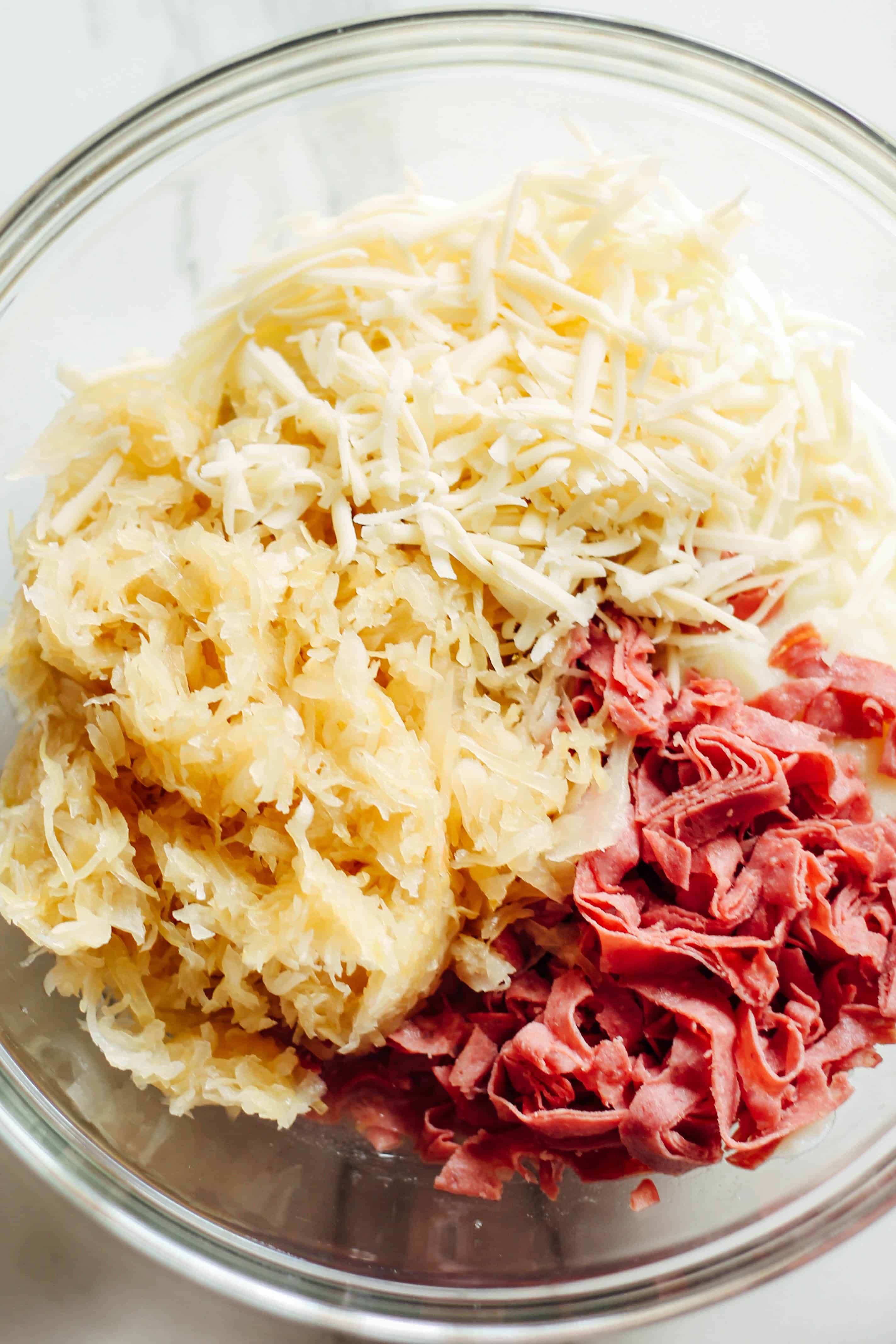 Lightened Up Reuben Dip | Destination Delish - A rich and creamy reuben dip made lighter with cauliflower and light cream cheese. Enjoy with pita chips, rye bread, or veggies!