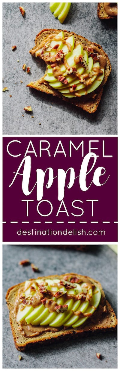 Caramel Apple Toast | Destination Delish - This wholesome, yet decadent toast is topped with almond butter, date caramel, fresh apples, and chopped nuts.
