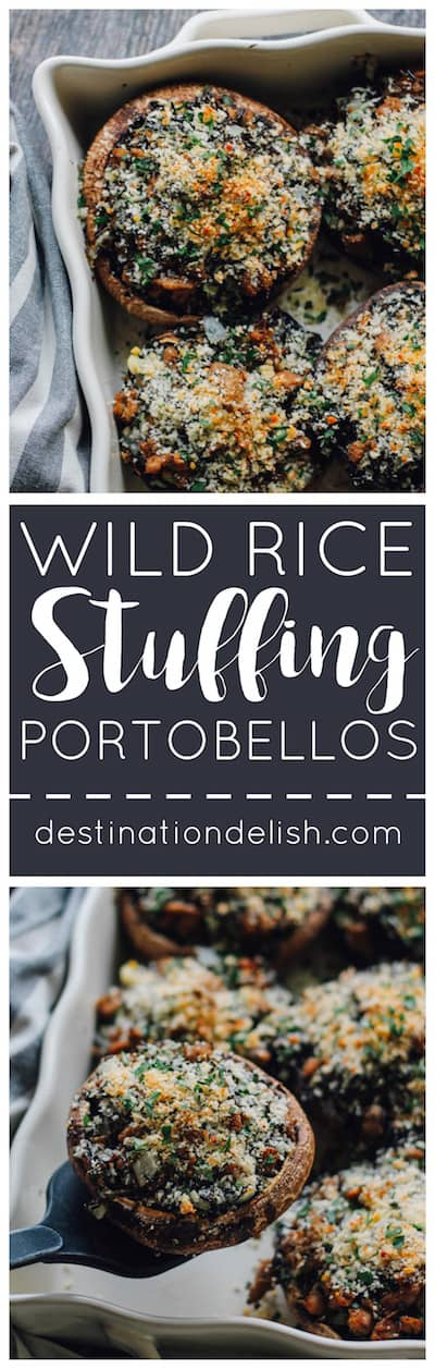 Wild Rice Stuffing Portobellos | Destination Delish - Hearty wild rice and mushroom stuffing served inside portobello mushroom caps. It's a wholesome and unique take on the traditional Thanksgiving side dish!