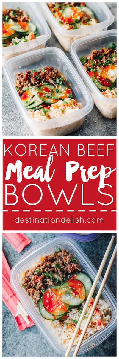 Korean Beef Meal Prep Bowls | Destination Delish - Your new favorite lunch: Korean ground beef paired with crisp and tangy cucumbers served on a bed of rice. Less than 20 minutes in the kitchen yields a week of lunches!