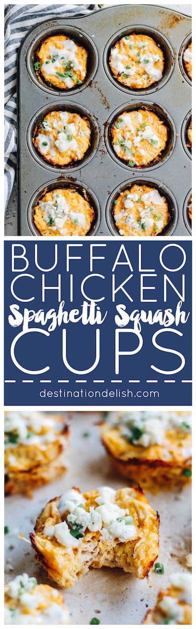 Buffalo Chicken Spaghetti Squash Cups | Destination Delish - A healthy, perfectly-portioned snack bursting with tangy chunks of buffalo chicken, spaghetti squash, blue cheese, and ranch dressing!