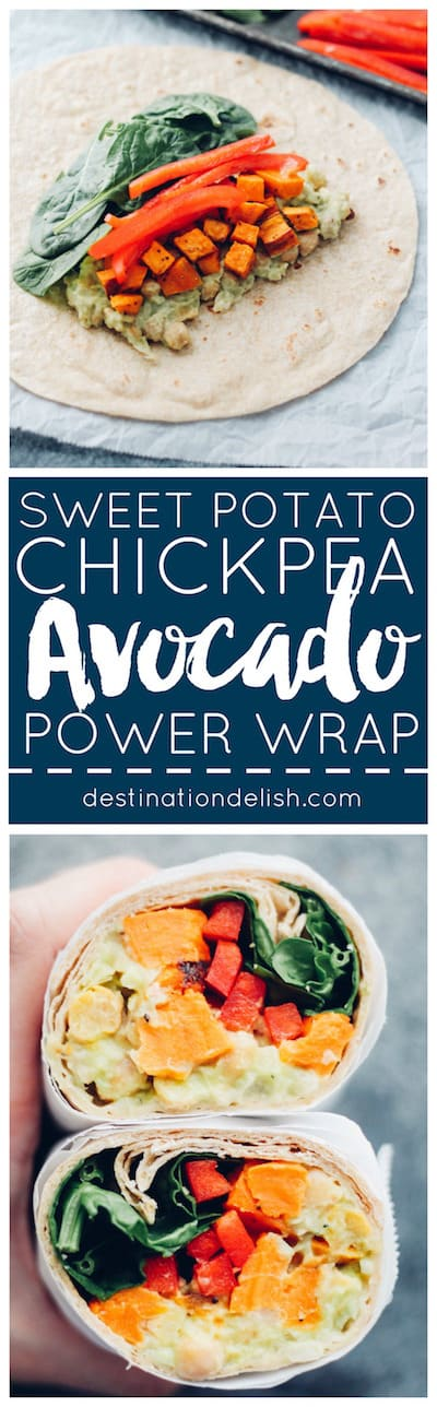 Sweet Potato, Avocado, and Chickpea Power Wraps | Destination Delish - Wholesome and filling wraps that are full of fresh flavors thanks to the avocado chickpea spread, brightened with a splash of lemon juice.
