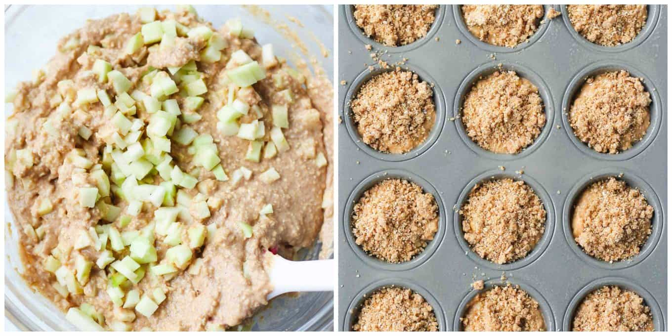 A photo collage showing the batter in a bowl with apples and the other photo showing the batter in muffin tin topped with streusel